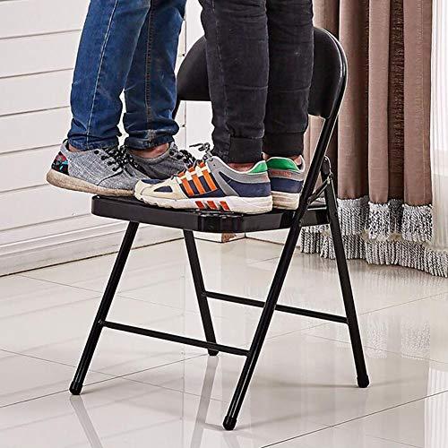 DALL hopfällbar stol PU kudde ryggstöd matstol bärbar hållbar kontorsstol metallram konferensstol (färg: Svart, storlek: 4 delar)