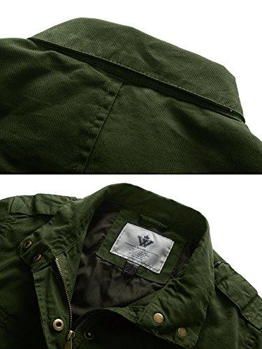 de Militar Manga Larga Verde para Estilo WenVen Mujer Chaqueta Militar de de Anorak Cax7qt