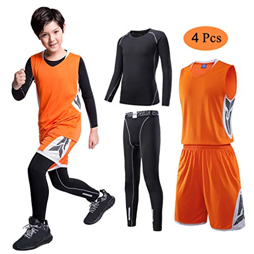 - TERODACO Kids Basketball Jersey and Shorts Set W Long Sleeve Compression Thermal Shirts and Leggings 4PCS Suit for Boys & Girls Orange & White