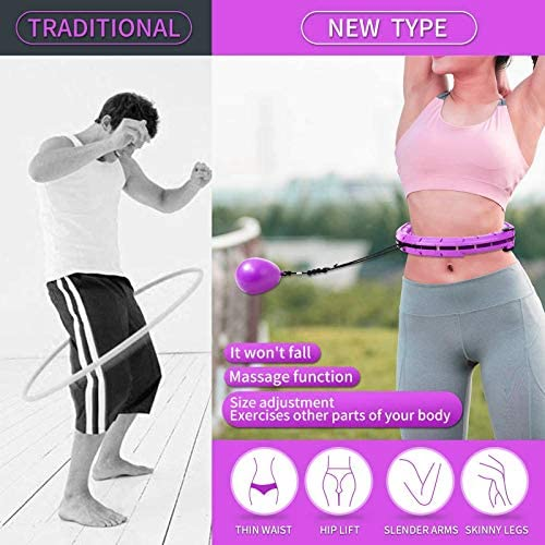 RGSHDS Weighted Smart Hoola for Exercise, 2 in 1 Abdomen Fitness Massage Smart Hoop, Auto Spinning Ball Hoop Adjustable Length for Adults Weight Loss for Fitness Aids 5