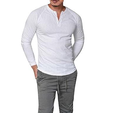 29b72293ac9 Homme Polo Shirt de Slim Fit V Neck Manches Longues T-Shirt Col à Boutons
