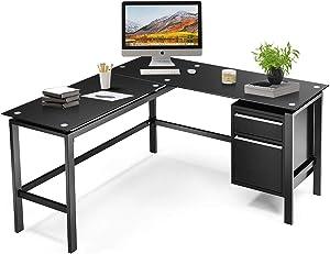 "Black L Shaped Computer Desk with Drawers, 56"" Glass top Corner Desks for Home Office, Modern L Shaped Office Desk for Student, Gaming, Writing, Working (Metal Steel Frame)"