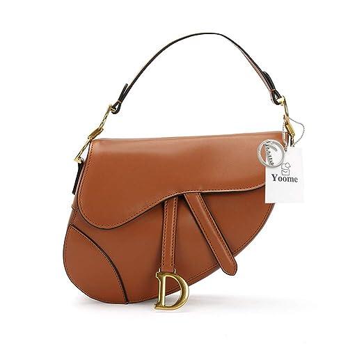 3b9b1993710f Amazon.com  Yoome Women Genuine Leather Saddle Shoulder Bag Fashion Top  Handle Clutch Crossbody Handbags Purse - Brown  Pet Supplies