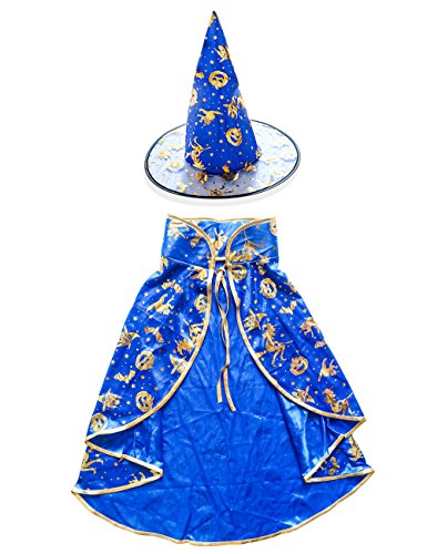 [SUMMEE Halloween Costumes Witch Wizard Cloak with Hat for Toddlers Kids Girls Boys Blue Gold] (2017 Toddler Girl Halloween Costumes)