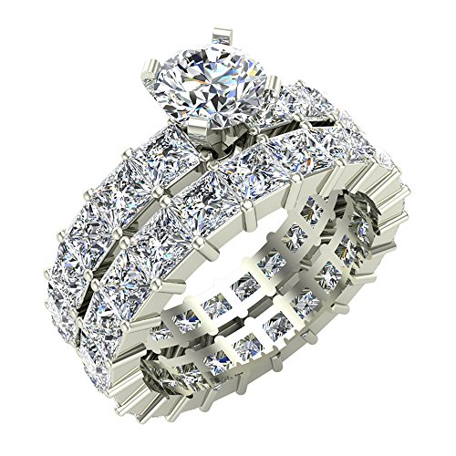 8.06 ct tw Round Center Princess Eternity Diamond Wedding Ring Set 14K White Gold (Ring Size 8) (Eternity Band Set Princess Diamond)