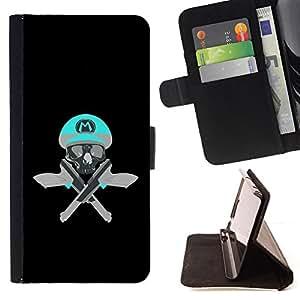 BullDog Case - FOR/Samsung Galaxy Note 3 III / - / SKULL FUNNY M GAME RETRO GUNS PISTOLS /- Monedero de cuero de la PU Llevar cubierta de la caja con el ID Credit Card Slots Flip funda de cuer