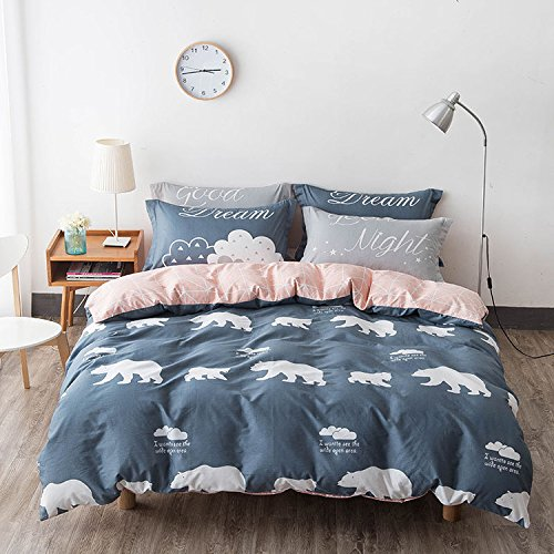 WarmGo Home Bedding D¨¦cor 4 Piece 100% Cotton Animal Polar Bear Pattern Duvet Cover Set with 2 Pillowcase for Kids Adult without Comforter ,Twin Size by WarmGo