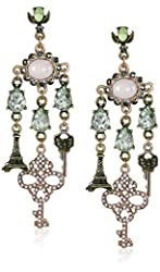 "Betsey Johnson ""Wanderlust"" Pave Key Multi-Charm Chandelier Drop Earrings"