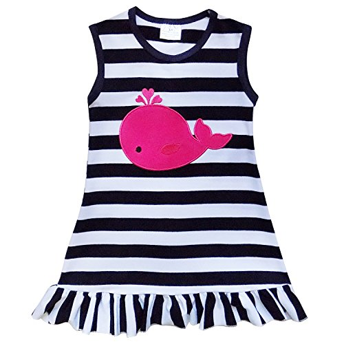 So Sydney Girls Toddler Baby Infant Summer Dress or Ruffle Baby Bubble Romper (XS (2T), Whale Navy Stripe)