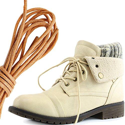 Dailyshoes Da Donna Stile Combattimento Lace Up Maglione Stivaletto Alla Caviglia Con Taschino Per Porta Carte Di Credito Tasca Porta Soldi, Beige Tan