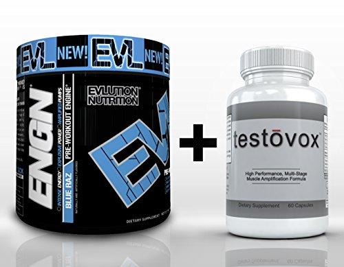Engn (30 portions) & Testovox (60 capsules) - High Performance Muscle Building Combo. Professional Supplément Force de Bodybuilding Stack (Bleu Raz)