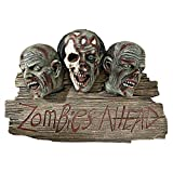 Zombies Ahead Welcome Plaque - Welcome Sign - Zombie Wall Sculpture  - Halloween Decoration