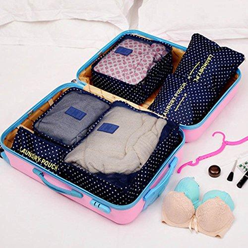 Clothes Travel Luggage Organizer Pouch (Dark Blue) Set of 6 - 8