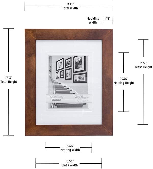 Made to Display 8x10 with Mat Malden 11x14 Matted Picture Frame Without Mat Walnut