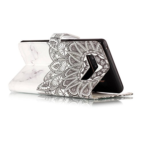 60%OFF JuSha for Samsung Galaxy Note 8 Case PU Leather Wallet Magnetic Cover Skin ( Marble Datura Flowers )