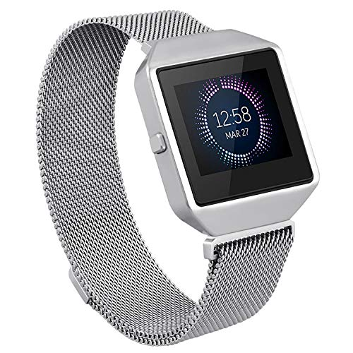 Hagibis Compatible Fitbit Blaze Band with New Metal Frame Milanese Loop Stainless Steel Bracelet Strap Magnet Lock Band for Fitbit Blaze Smart Watch-Small Large Black Sliver Rose Gold (Sliver, Small)
