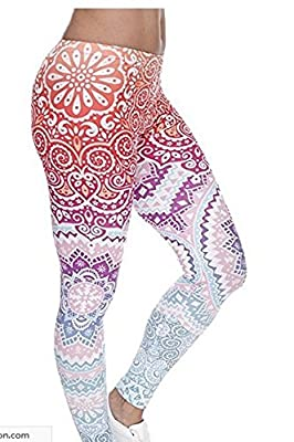 Ndoobiy Women's Printed Leggings Full-Length Regular Size Yoga Workout Leggings Pants Soft Capri L1