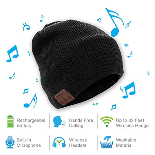 Kizaen HD Stereo Bluetooth 4.2 Wireless Smart Beanie Headset Musical Knit Headphone Speaker Hat Speakerphone Cap,Built-in Mic