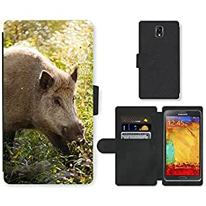 GoGoMobile PU LEATHER case coque housse smartphone Flip bag Cover protection // M00118897 Animal Jabalí Color ojos Bosque Piel // Samsung Galaxy Note 3 III N9000 N9002 N9005