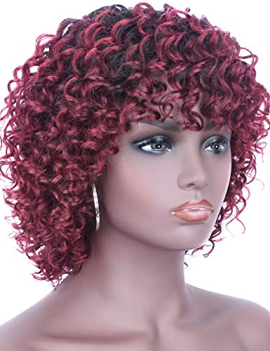 Beauart Short Ombre Wine Red Curly Brazilian Remy 100% Human Hair Wigs for Black Women Full Head Wave Curls Wig with Hair Bangs + Free 2 Pieces Wig caps -
