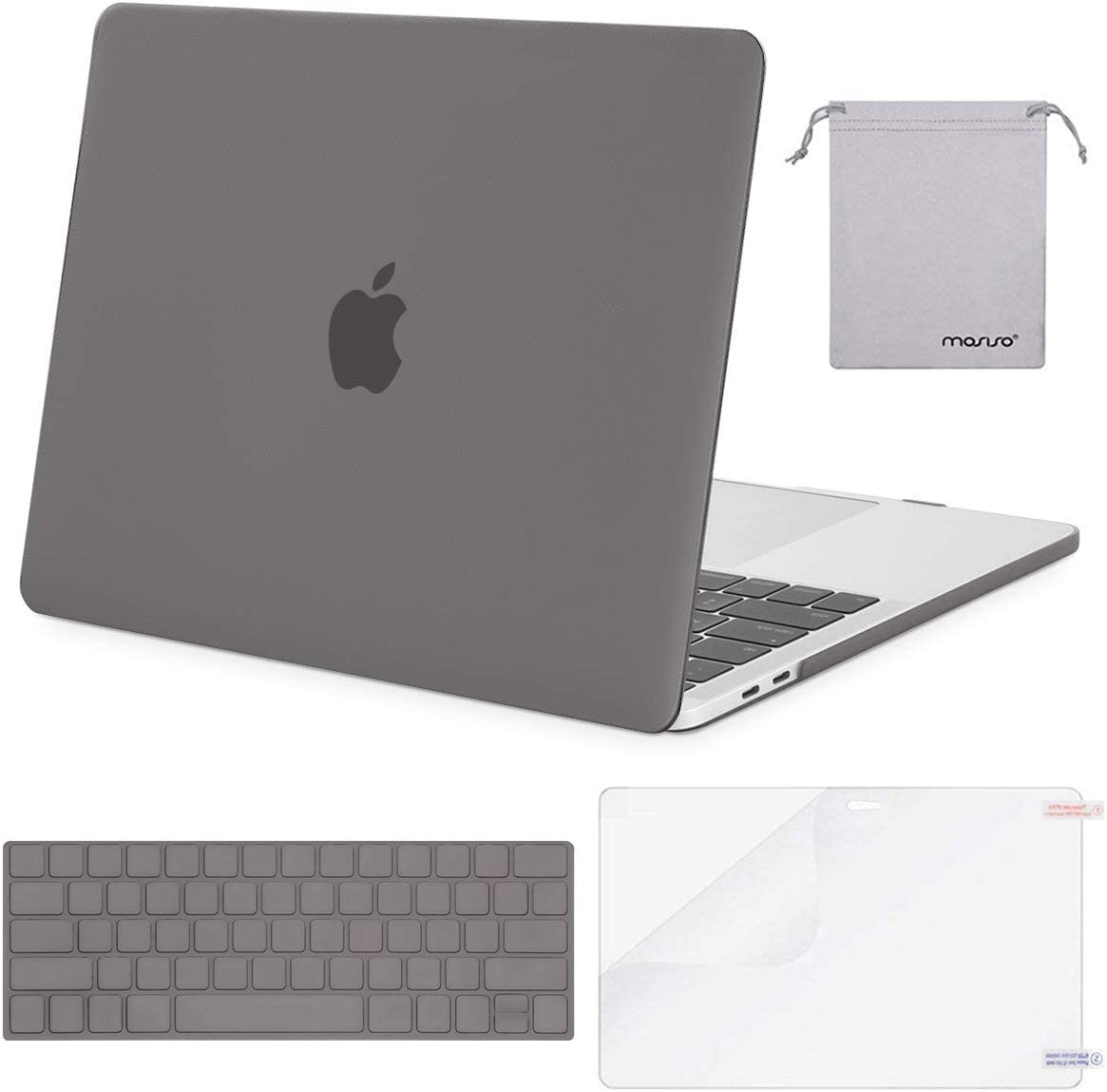 MOSISO MacBook Pro 13 inch Case 2019 2018 2017 2016 Release A2159 A1989 A1706 A1708, Plastic Hard Shell Case&Keyboard Cover&Screen Protector&Storage Bag Compatible with MacBook Pro 13, Gray
