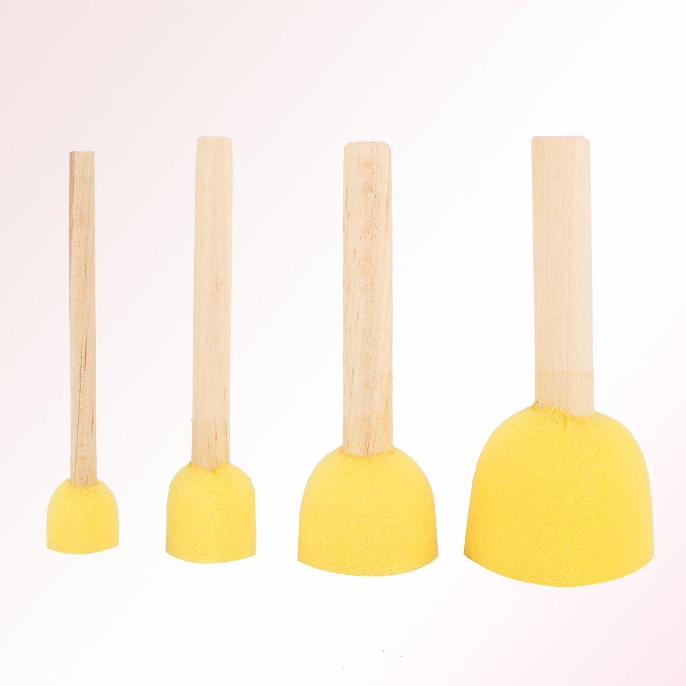 Jarchii Painting Sponge Brush Tools Set 4Pcs Round Wooden Handle Stencil Sponge Foam Brush Furniture Craft Art Painting Tools Kit for Art Supplies Educational Toy
