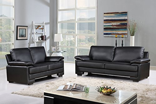 Modern Faux Leather Sofa And Loveseat Living Room Furniture Set Part 84