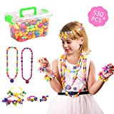 Pop Snap Beads, Beauty Crafts Toys Jewelry Making Kit for 4,5,6,7 Year Old Girls Toddlers - Necklace, Bracelet and Ring Creativity DIY Set - Ideal Birthday & Educational Gifts (530 PCS)