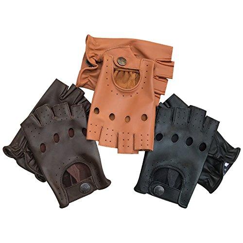 Prime Top Quality Men Soft Leather Half Finger Driving Gloves Motorbike Bur Driver Finger less 313 (Tan, M) (Driver Fingerless Gloves)