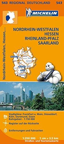 Michelin Nordrhein-Westfalen, Hessen, Rheinland-Pfalz, Saarland: Straßen- und Tourismuskarte 1:350.000 (MICHELIN Regionalkarten)