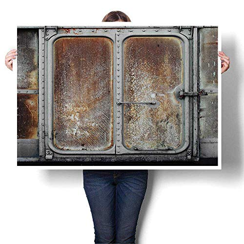 Wall Art Canvas Prints Vintage Railway Ctainer Door Metal Old Locomotive Transportati Ir Power Print Paintings for Home Wall Office Decor,44