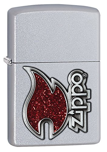 - Zippo Flame Emblem Pocket Lighter, Satin Chrome