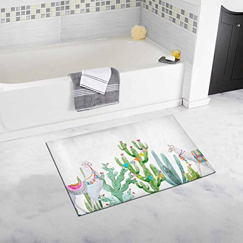 INTERESTPRINT Watercolor Llama with Mexican Tropical Cactus House Decor Non Slip Bath Rug Mat Absorbent Bathroom Floor Mat Doormat Large Size 20 x 32 Inches