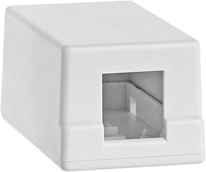 Surface Mount Box 1 Port Single Hole Keystone Jack Cat5e//Cat6 Ivory Fast Ship!!!