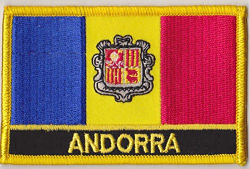 """Andorra Flag Patch (Andorra iron-on w/ words, 2"""" x 3"""")"""