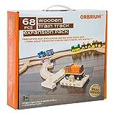 Orbrium Toys 68 Pcs Premium Wooden Train Track Expansion Pack