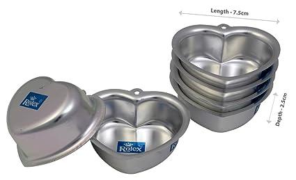 Rolex Aluminium Jelly CupCake Muffin Mould Little Heart set of 6 S1