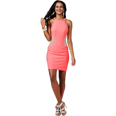 JVN by Jovani Womens Illusion Halter Semi-Formal Dress at Amazon Women s  Clothing store  3abf849f9