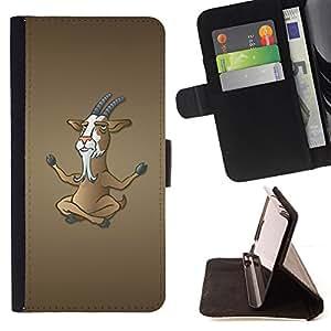 BullDog Case - FOR/HTC One M7 / - / Funny Meditating Goat /- Monedero de cuero de la PU Llevar cubierta de la caja con el ID Credit Card Slots Flip funda de cuer