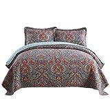 European King Size Bed NEWLAKE Cotton Bedspread Quilt Sets-Reversible Patchwork Coverlet Set, European Gorgeous Floral Pattern, King Size