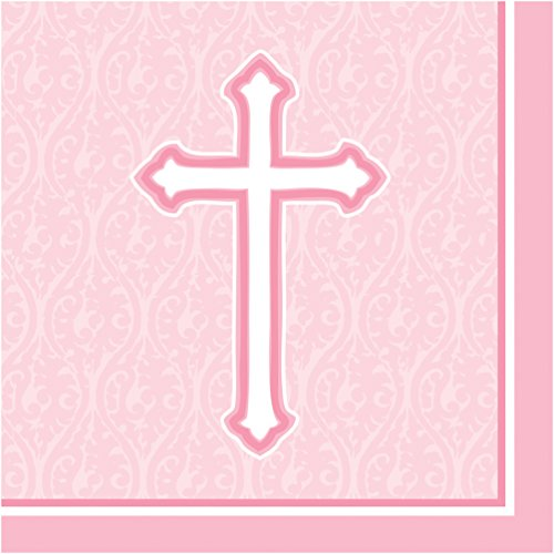 Christening Lunch Napkins - Creative Converting 18 Count Lunch Napkins, Faith Pink
