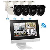 """KKmoon Wireless CCTV System 4Channel Wireless CCTV Camera With 10.1""""LCD Monitor + 4pcs HD 720P WiFi Outdoor Weatherproof Camera Support P2P IR Night Vision for Android/iOS APP Motion Detection"""