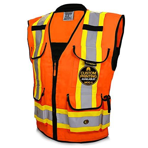 KwikSafety (Charlotte, NC) GODFATHER | Class 2 Safety Vest | Hi Viz Reflective ANSI Compliant Work Wear | 9 Pockets Cushion Collar Reinforced Branding | Men & Women | Orange L/XL