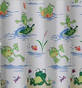Amazon Frog Mania Bath Accessories Shower Curtain