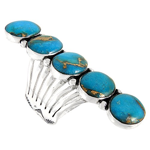 - Turquoise Ring Sterling Silver Genuine Turquoise Bold Statement Ring (9) (Teal/Matrix)