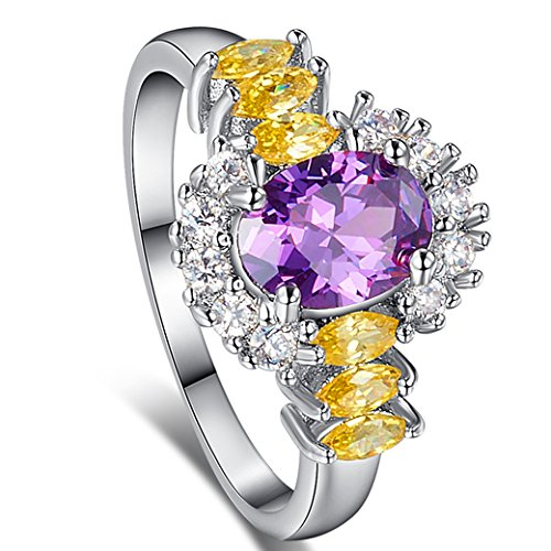 Narica Womens Brilliant 6mmx8mm Oval Cut Amethyst CZ Engagement Ring Large Oval Amethyst Ring