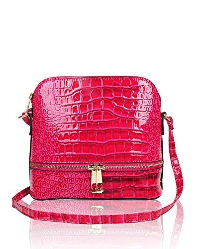 Handbag Shine Small Shoulder Print Fuchsia New Patent Orchid Croc Bag Leather Crossbody Womens Hwq5Y8