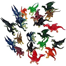 """2.5"""" - 3"""" Plastic Fire Breathing Mini Dragons - 20 Pieces"""