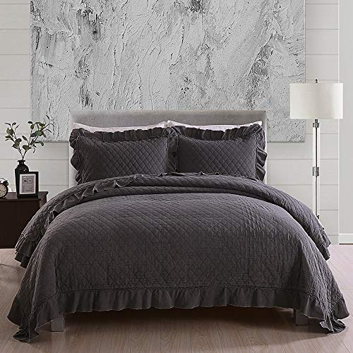 JML Quilts Queen Size, Stone Washed Microfiber 3 Pieces Bedspreads Coverlet with Ruffle - Super Soft, Oversized Vintage Quilt Set, Grey