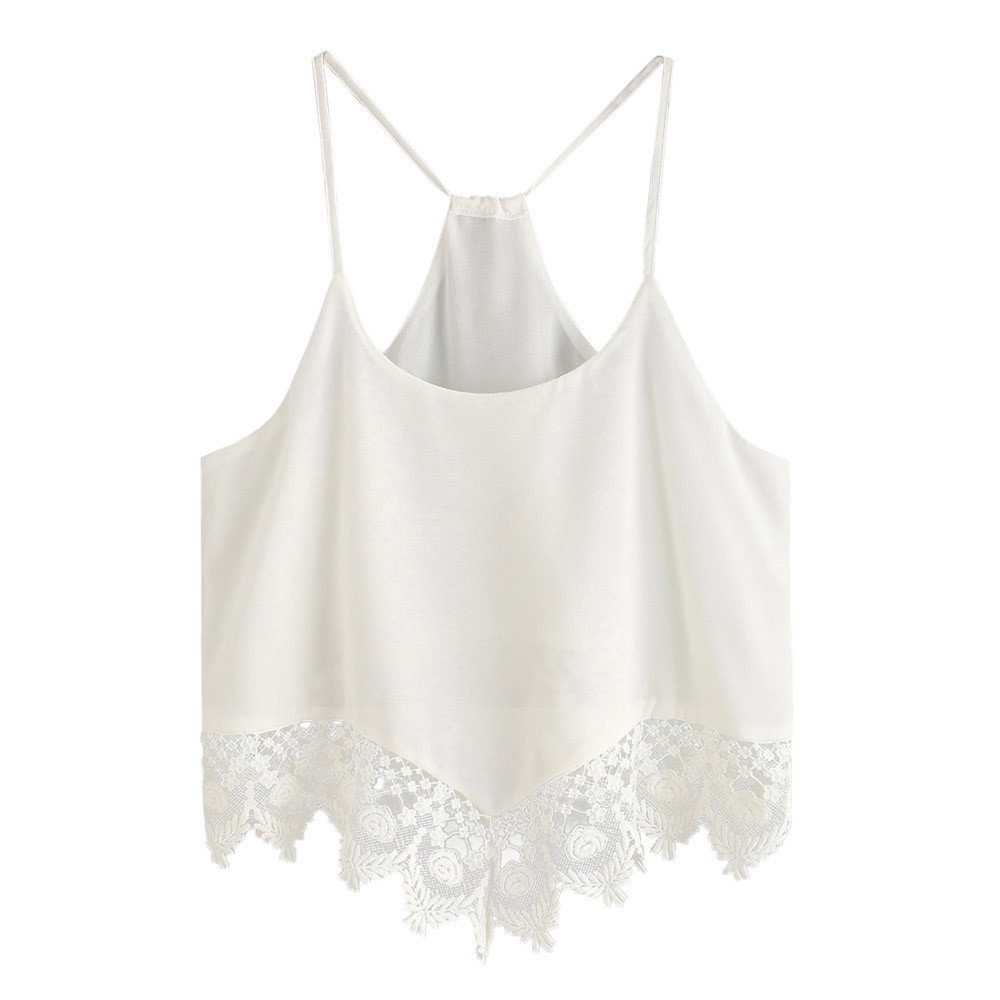 YAliDa 2019 clearance sale Women Lace Casual Sleeveless Crop Top Vest Tank Shirt Blouse Cami Top L(Large,White)